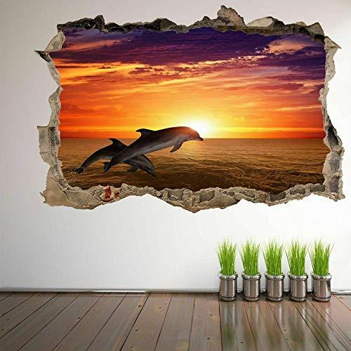Wandtattoos Dolphin Sunset 3D Wandkunst Aufkleber Wandtattoo Poster Print Kinderzimmer Dekor FP20 50x70 cm
