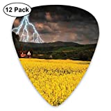 Guitar Picks 12-Pack,Thunderstorm Over The Meadow Valley With Scary Dark Sky Rural Farm Scenery