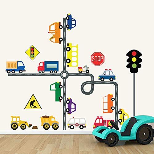 decalmile Adesivi Murali Trasporti Strada Adesivi da Parete Educazione per Bambini Segnale Stradale Decorazione Murale Camerette Bambini Asilo Nido Camera da Letto Soggiorno Aula