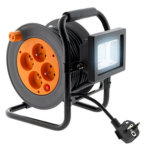 Enrouleur électrique 4 prises 16A 2P+T avec projecteur LED 10W - câble HO5VV-F 3G1 15m avec guide câble - Zenitech