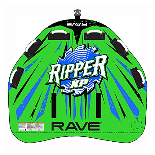 RAVE Sports Ripper XP Quick Connect Inflatable 3 Person Rider Towable Pull Behind Water Sport Raft Tube Float for Tubing and Boating, Green