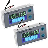 2 Pieces Battery Meter Monitor with Low Voltage Buzzer Alarm 10 - 100V Digital Battery Capacity Tester Battery Capacity Indicator Battery Meter Golf Cart Voltage Temperature Switch Meter Panel