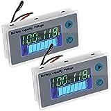 Monitor de Medidor de Batería Digital de 10-100 V con Alarma de Zumbador de Bajo Voltaje Indicador de Capacidad de Batería Panel de Medidor de Interruptor de Temperatura (2 Piezas)