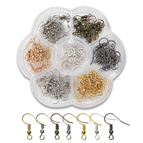 TOAOB 1Box 140pcs Earring Hooks Hypoallergenic Fish Hooks Ear Wires with Ball and Coil 7 Colors 18mm Nickel Free Earring Parts Jewelry Findings for DIY Jewelry Making