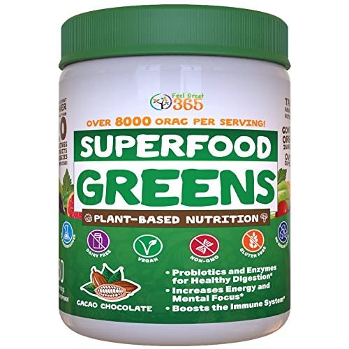 Superfood Vital Greens Powder - Cocoa Chocolate by Feel Great 365, Doctor Formulated, Organic, Whole30 Friendly, and Vegan, 100% Non-GMO with Real Green Vegetables, Polyphenols, and Probiotics