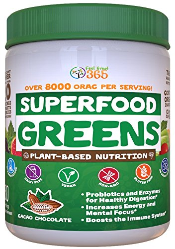 Superfood Greens Powder - Cocoa Chocolate by Feel Great 365, Doctor Formulated, Organic, Whole30 Friendly, and Vegan, 100% Non-GMO with Real Green Vegetables, Polyphenols, and Probiotics