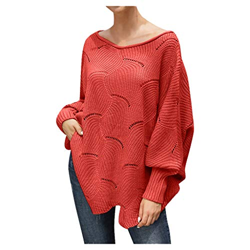 general3 Women Pullover Sweaters Off Shoulder Lantern Sleeve Hollow Irregular Hem Oversized Loose Knitted Jumper Tops (Red, Small) from general3