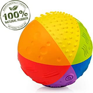 """Pure Natural Rubber Sensory Ball Rainbow 4"""" - All Natural Sensory Toy, Promotes Sensory Development, Rainbow Colors, Perfect Bouncer, Gentle Squeaking, BPA Free, PVC Free, Food-grade paint"""