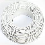 Cable para altavoz (2 x 0,50 mm², 50 m, CCA, cable de audio), color blanco