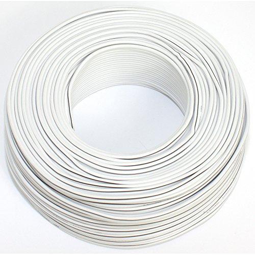 Cable para Altavoz (2x 0,50mm2–Caja de Cable de Audio–Cable 0,50mm2-50m Blanco