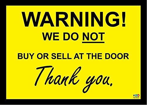 WAARSCHUWING: Wij kopen of verkopen niet aan de deur! - Sign/Sticker/Vinyl 140mm x 100mm