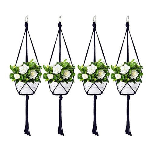 Koitoy Makramee Blumenampel Hängeampel für Kleine Blumentopf Innen oder Außen Hängender Blumentopf Pflanzenhalter Pflanzenhänger für Balkon Decke Schwarz (4)
