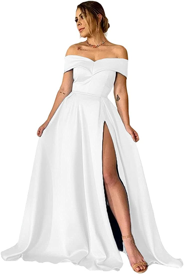 XYAYE Women's Off The Shoulder Satin Prom Dresses Long with Pockets A line Slit Formal Evening Party Gowns