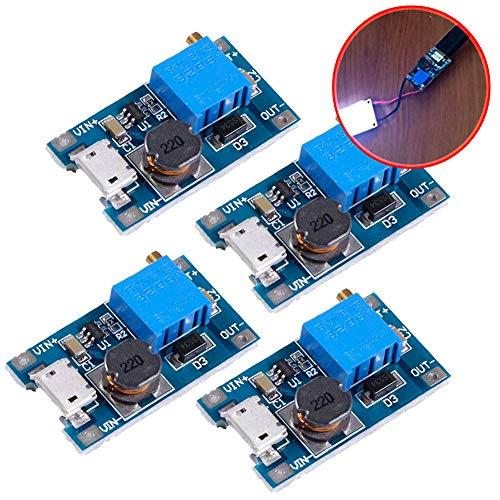Icstation Boost Converter MT3608 Mico USB DC 2V-24V to 5V-28V 2A , Voltage Regulator,Power Supply Step Up Module 3.3V 5V 6V 9V 12V to 5V 6V 9V 12V 24V (Pack of 4)