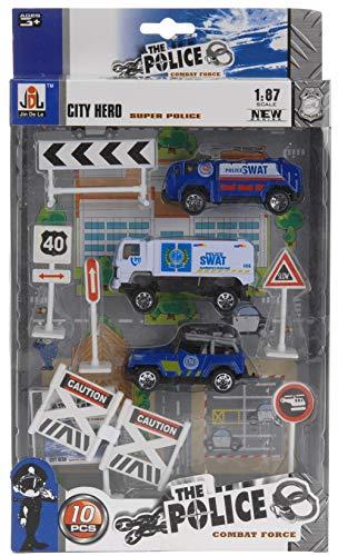Metall Modellautos. Modellautoset. 10-teilig mit 3 Fahrzeugen und Zubehör. Thema: Polizei, Polizeiauto