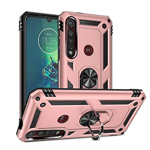 Rebex Kompatibel mit Moto G8 Play Hülle, Moto G8 Plus Hülle, Motorola One Macro Hülle Cover, robuster, schützender Metallring mit drehbarem Ständer, Metallpanzer, robust, stoßfest (rosa)
