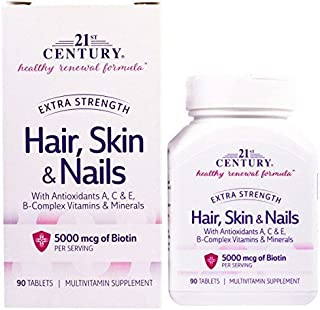 21st Century Healthy Renewal Formula Hair, Skin & Nails Extra Strength - 90 Tablets, Pack of 2