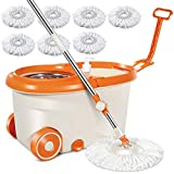 MASTERTOP Easy Wring Spin Mop & Bucket System -360 Spin Mop & Bucket Floor Cleaning, Stainless Steel Mop Bucket with Wringer Set, 57' Extended Handle, 2 Wheel Easy Move, 7 Microfiber Mop Heads…