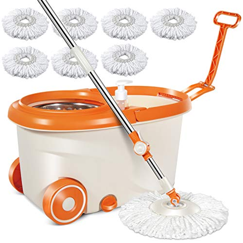 """MASTERTOP Spin Mop & Bucket with Wringer Set, Floor Cleaning, Household Cleaning Supplies, Stainless Steel Spinning Mop Bucket, 7 Microfiber Mop Refills, 57"""" Extended Handle, 2 Wheels Easy Moving"""