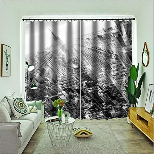FACWAWF Home3D Patrón Oscuro Material De Poliéster Cortinas Opacas Cortinas De Estudio para Sala De Estar 184x160cm(2pcs)