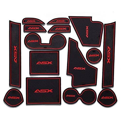 para ASX 2013-2016 Alfombrilla de Ranura para Puerta dedicada Antideslizante Almohadilla de Copa Accesorios Decorativos Interiores Estilo Cojines de Ranura para Puerta 15 tabletas (Red)