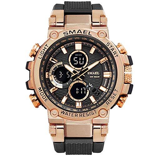 SMAELBand Digital Army Watch Men LED Sportuhren wasserdichte Uhr Militärarmbanduhr für Herren,Roseglod