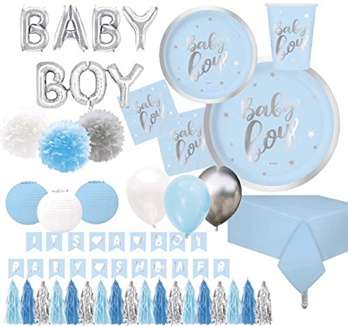 """Serves 30   Baby Boy Baby Shower Essentials   Silver Foil   9"""" Dinner Paper Plates   7"""" Dessert Paper Plates   9 oz Cups   3 Ply Lunch & Beverage Napkins   2 Table Covers   Balloons   Lanterns   Banner It"""