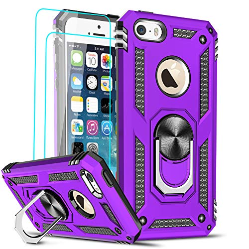 LeYi Compatible for iPhone se Case (2016), iPhone 5s Case, iPhone 5 Case, Military-Grade Armor Full-Body Phone Cover Case with 360 Degree Rotating Holder Kickstand for iPhone 5/5s/se, Purple