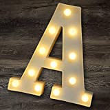 YOEEN LED Marquee Letter Lights Sign Light Up Letters Battery Powered Alphabet Letters for Wedding Birthday Party Christmas Night Light Home Bar Decoration (A)