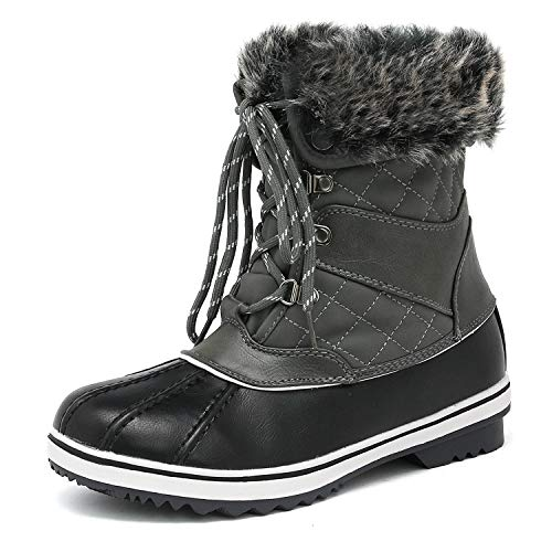DREAM PAIRS Women's River_2 Grey Mid Calf Winter Snow Boots Size 7 M US