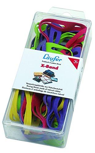 Läufer 69582 Rondella X-Band, elastische Kreuzbänder, Gummibänder Größen sortiert gemischt, Durchmesser 50-100 mm, 30g Dose, bunt