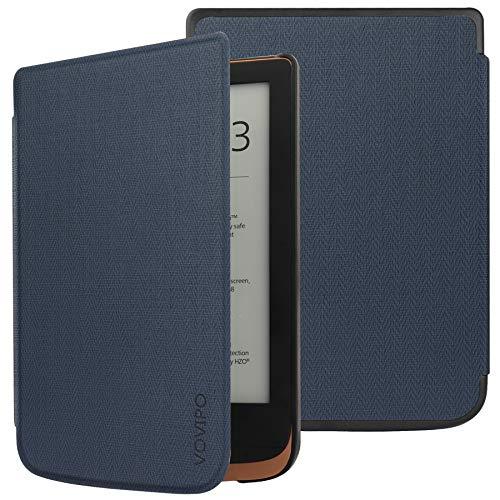 VOVIPO Slanke hardshell hoes voor Pocketbook Touch HD 3/Touch Lux 5/Touch Lux 4/Basic Lux 2 E-Reader – Premium lichtgewicht PU lederen hoes met automatische slaap/wake-functie