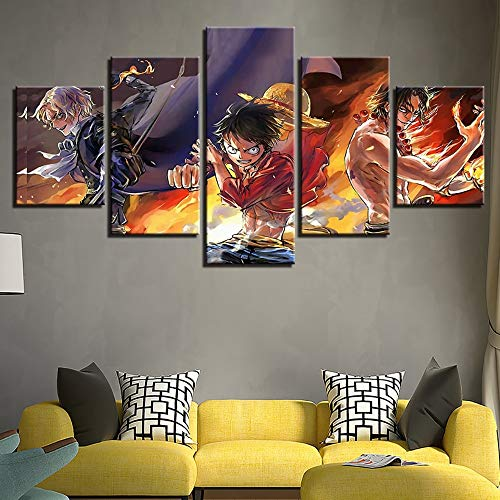 FYZKAY Bilder 5-teilig Leinwandbilder Cartoon One Piece Bild Moderne Home Decor Leinwandkunst HD Print Anime Charakter Malerei Auf Leinwand Kunstwerk Rahmenlos