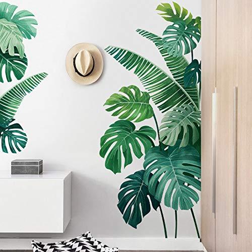 Pegatina de pared, Planta tropical Hoja de tortuga Etiqueta de la pared Playa fresca Palm Leave Art Decal Puerta Decoración de la pared para la sala de estar Cocina Decoración para el hogar 60 * 90 cm