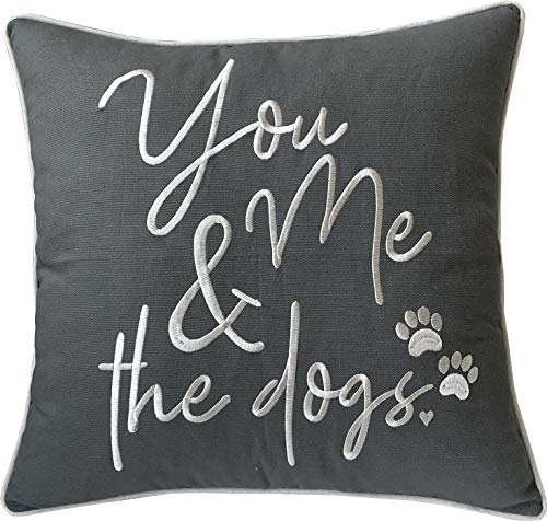 DecorHouzz Pillowcases Embroidered Pet Lover Pillow Covers Gifts for Dog Lover, Cat Lover, Pet Decor, 18'X18', Y M and Dogs(Grey)