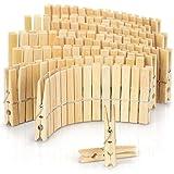 com-four® 120x Pinzas para Ropa Hechas de Madera - Pinzas de Madera Hechas de bambú - Pinzas para Colgar la Ropa (120 Piezas - bambú)