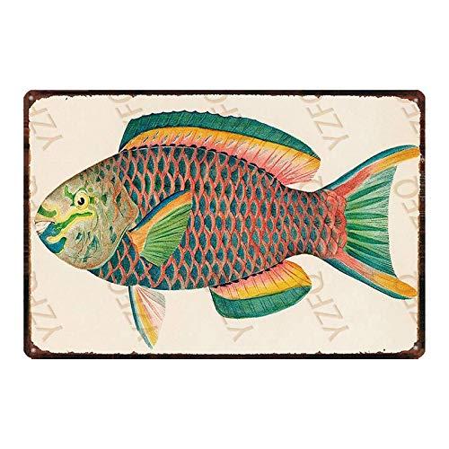 SanwoodenJ Tienda de Aparejos de Pesca Letrero de Metal Vintage Placa de hojalata Retro Tienda de Arte para el hogar Decoración de Pared de Restaurante 20x30cm DU-3957