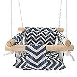 Perfeclan Asiento de oscilación colgante seguro para bebé juguete clásico hamaca con respaldo patio trasero exterior juego