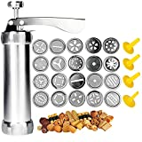 Cookie Press Gun - Spritz Cookie Press for Baking,Stainless Steel Cookie Maker Machine,Biscuit Maker with 4 Nozzles and 20 Cookie Gun Press Discs (APFFSY)