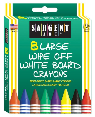 Sargent Art 35-0522 8-Count Large Wipe-Off White Board Crayons, Peggable