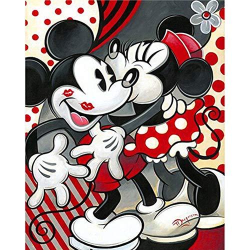 DIY 5D Diamante Pintura Kits, Kit de Pintura de Diamantes 5D Dibujos animados de Mickey Mouse Diamond Painting Completo Bordado Punto de Cruz Craft para Home Decoración -Square Drill,80x100cm E5376