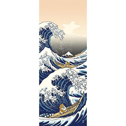 Handtuch mit Hamamonyo Shiba Inu auf der großen Welle in Kanagawa Chusen Tenugui