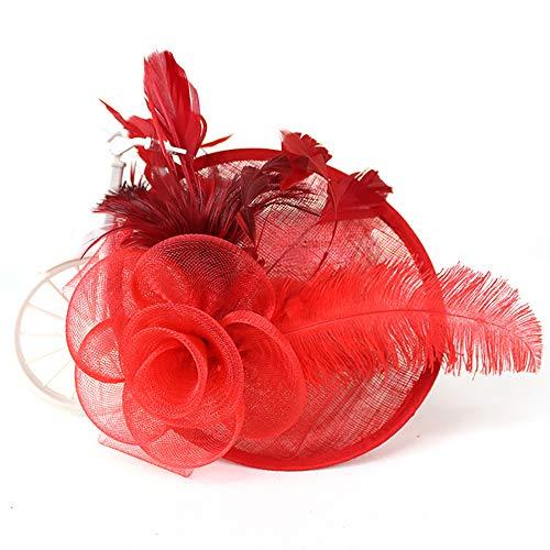 Tocados para El Pelo con Diademas Y Pinza De Mujer Novia para Fiesta Boda con Pluma Y Malla (Rojo)