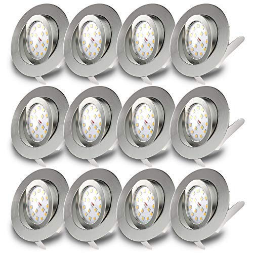 B.K.Licht I 12er Set schwenkbare LED Einbaustrahler I Ultra Flach 30mm I inkl. 12x 5W LED Module I 400lm I warmweiße Lichtfarbe I IP23 Einbauleuchten I Deckenspots I Matt Nickel