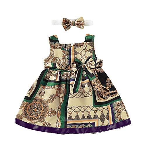 Cover Mädchen Kleider + Stirnband Ärmelloses Kleid Sommerkleid mit Bowknot Kleidung Set