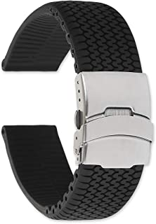 deBeer Tire Track Black Silicone Rubber Divers Watch Band/Watch Strap with Deployment Clasp - Sizes: 20mm, 22mm, or 24mm
