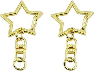 GBSTORE 10 Pcs Metal Gold Swivel Lobster Clasp Snap Hook Star Shape Keychain Jewelry Findings