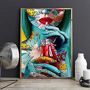 wZUN Graffiti Street artísticos Carteles Femeninos e Impresiones Lienzo Pintura murales Sala de Estar decoración del Dormitorio 60x80 Sin Marco