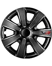 AUTOSTYLE Black Juego de 4 Tapacubos VR 16 Pulgadas Negro/Look Carbono/Logo, Set de 4