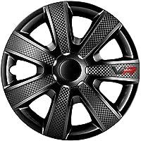 AUTOSTYLE VR Negro 14 Set VR Negro/Carbon Look/Logo - Tapacubos (4 Unidades)